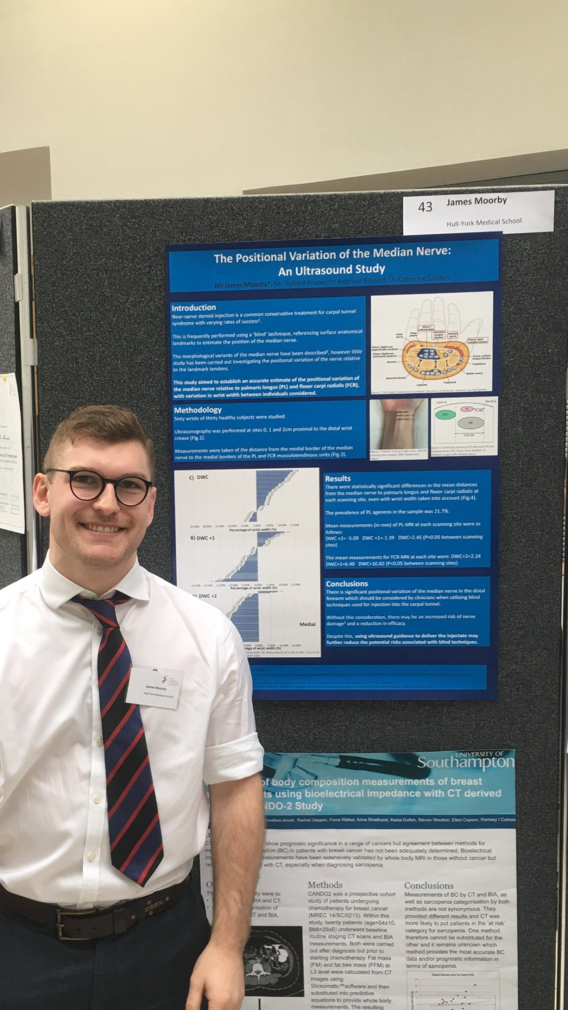 James Moorby presenting his commended poster